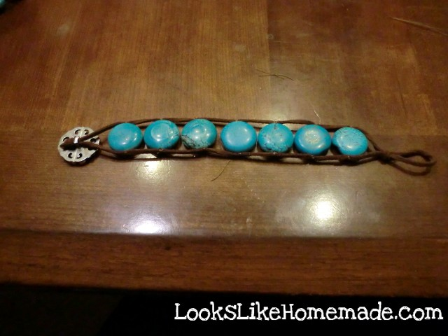 Turquoise and Leather Bracelet