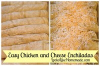 easy chicken & cheese enchiladas - LooksLikeHomemade.com