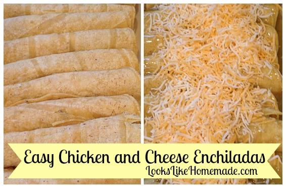 easy chicken & cheese enchiladas - LooksLikeHomemade.com