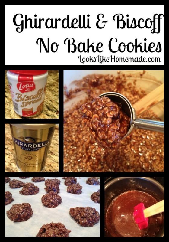 ghirardelli & biscoff no bake cookies