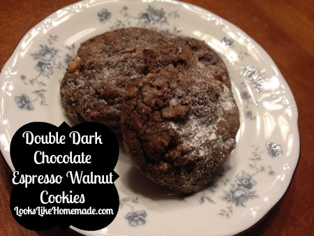 Double Dark Chocolate Espresso Walnut Cookies