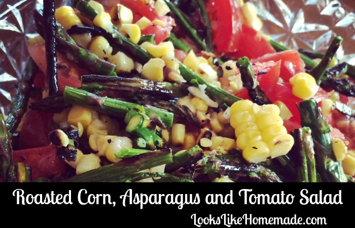 Roasted Corn Asparagus Salad with Tomatoes