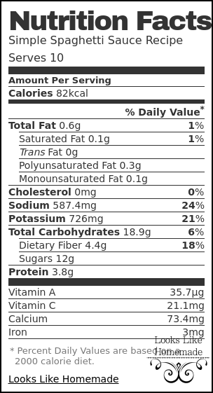Nutrition label for Simple Spaghetti Sauce Recipe