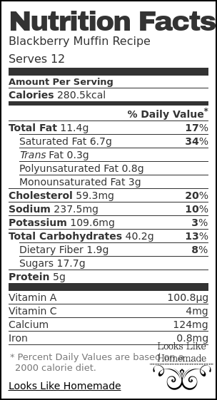 Nutrition label for Blackberry Muffin Recipe