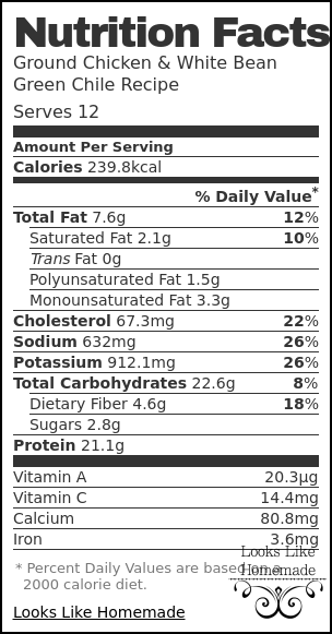 Nutrition label for Ground Chicken & White Bean Green Chile Recipe