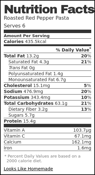 Nutrition label for Roasted Red Pepper Pasta